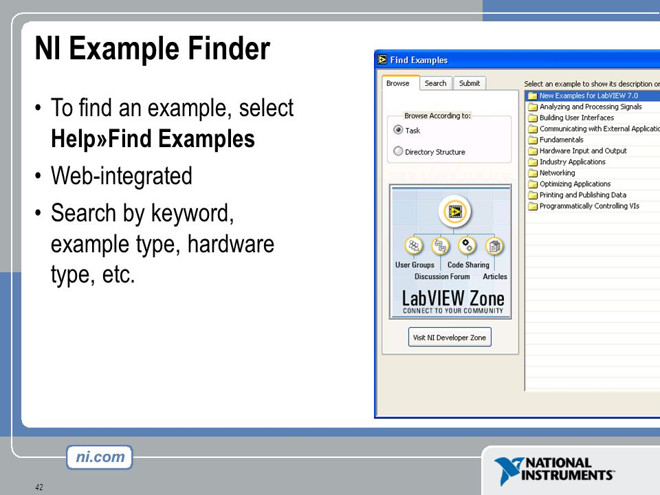 NI Example Finder To find an example, select Help»Find Examples
