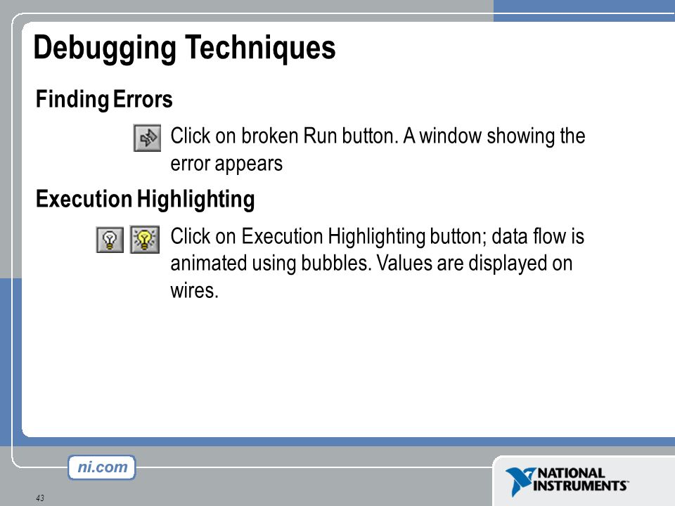 Debugging Techniques Finding Errors Execution Highlighting