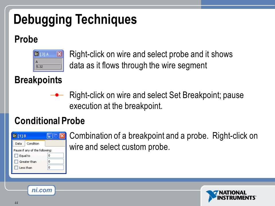 Debugging Techniques Probe Breakpoints Conditional Probe