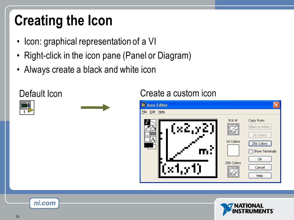 Creating the Icon Icon: graphical representation of a VI