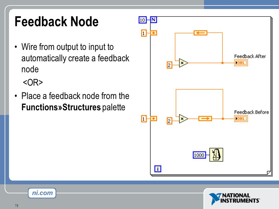 Feedback Node Wire from output to input to automatically create a feedback node. <OR> Place a feedback node from the Functions»Structures palette.