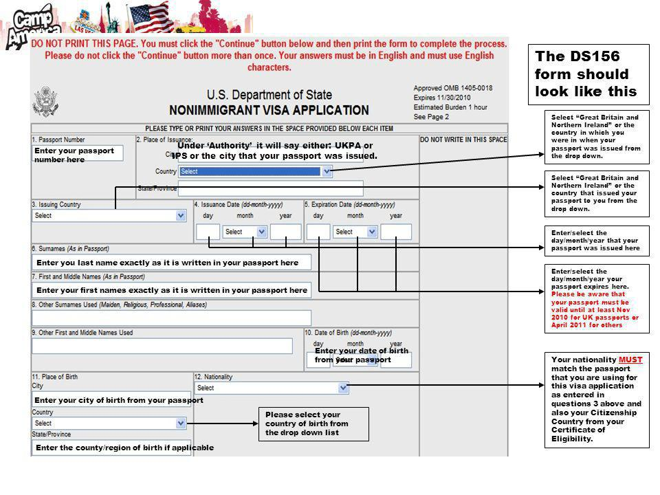 The DS156 form should look like this