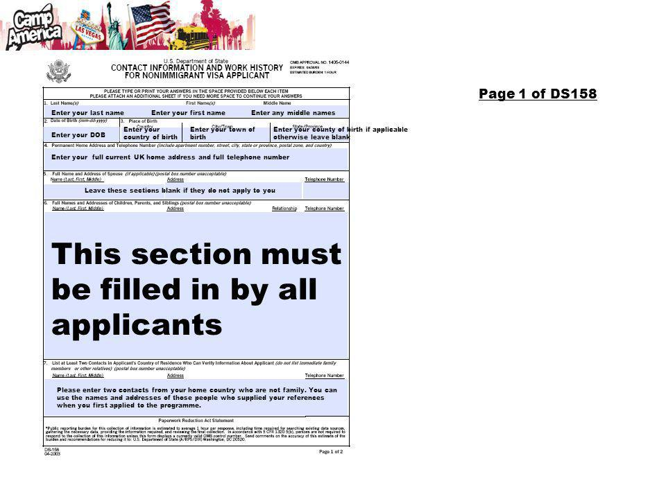 This section must be filled in by all applicants