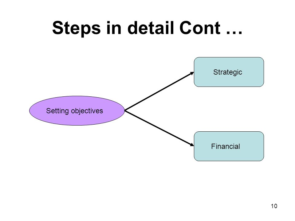 Steps in detail Cont … Strategic Setting objectives Financial