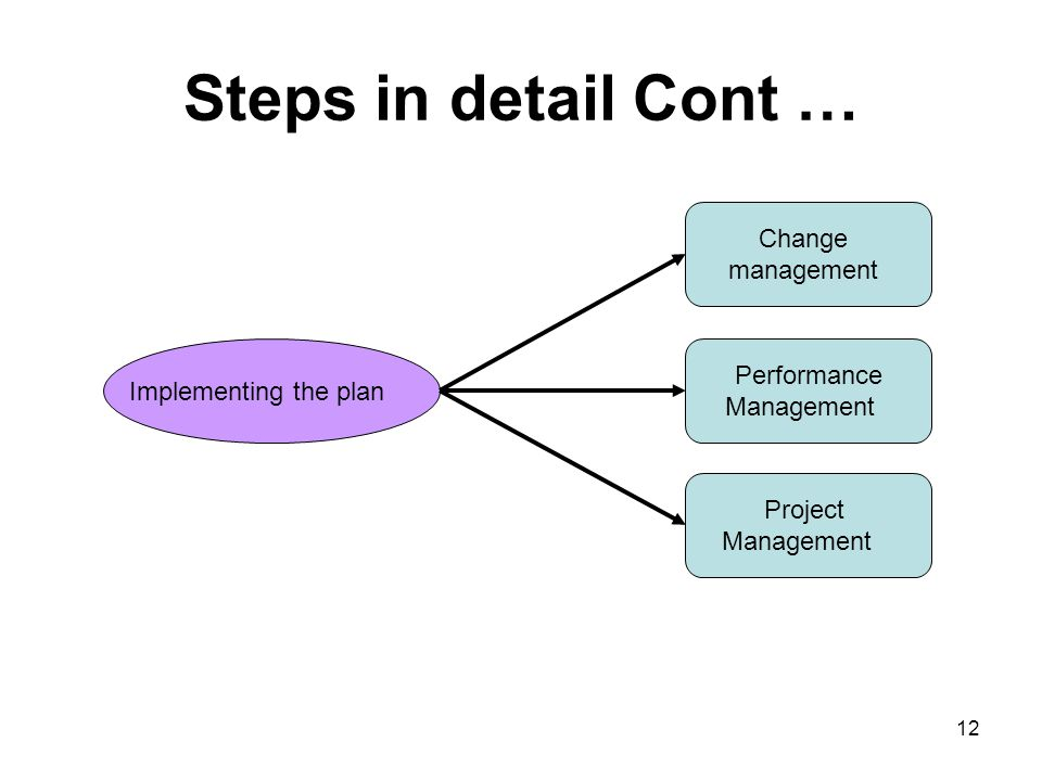 Steps in detail Cont … Change management Performance