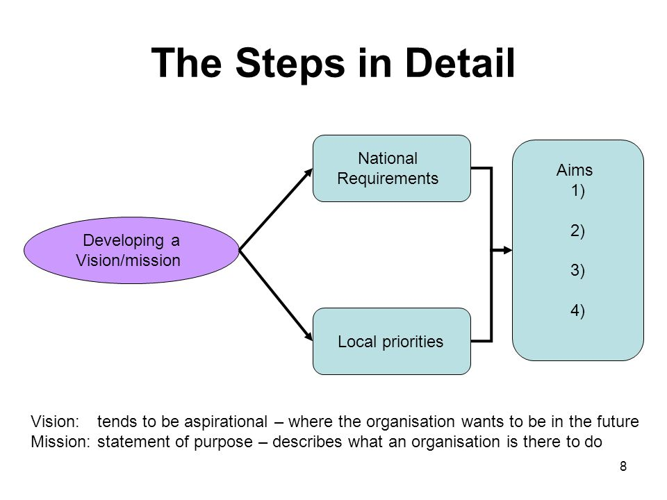 The Steps in Detail National Requirements Aims 1) 2) 3) 4)