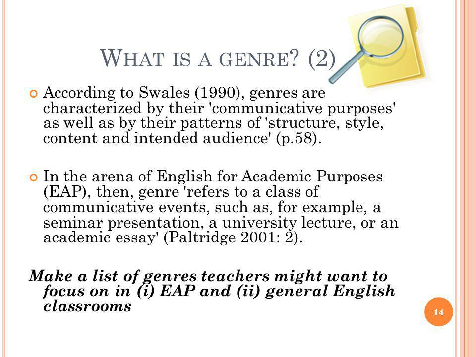 What is a genre (2)