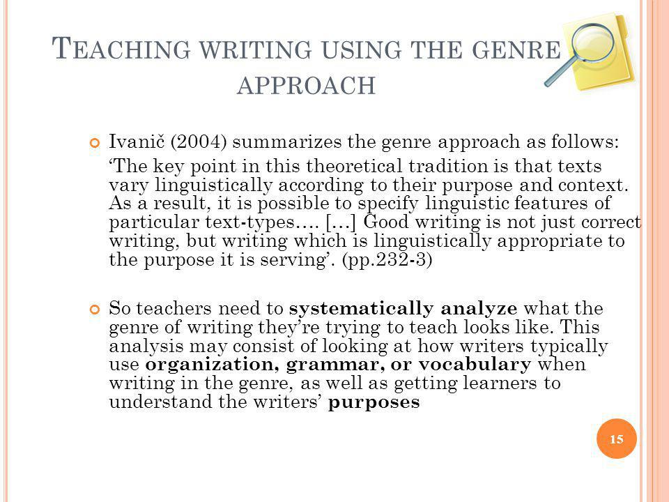Teaching writing using the genre approach