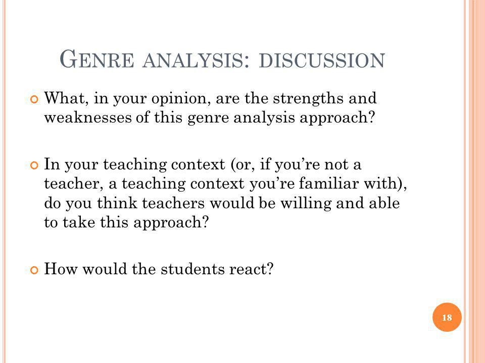 Genre analysis: discussion