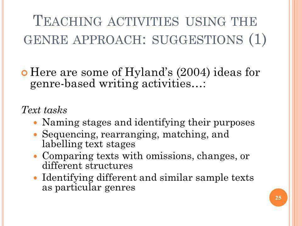 Teaching activities using the genre approach: suggestions (1)