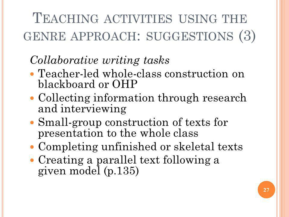 Teaching activities using the genre approach: suggestions (3)