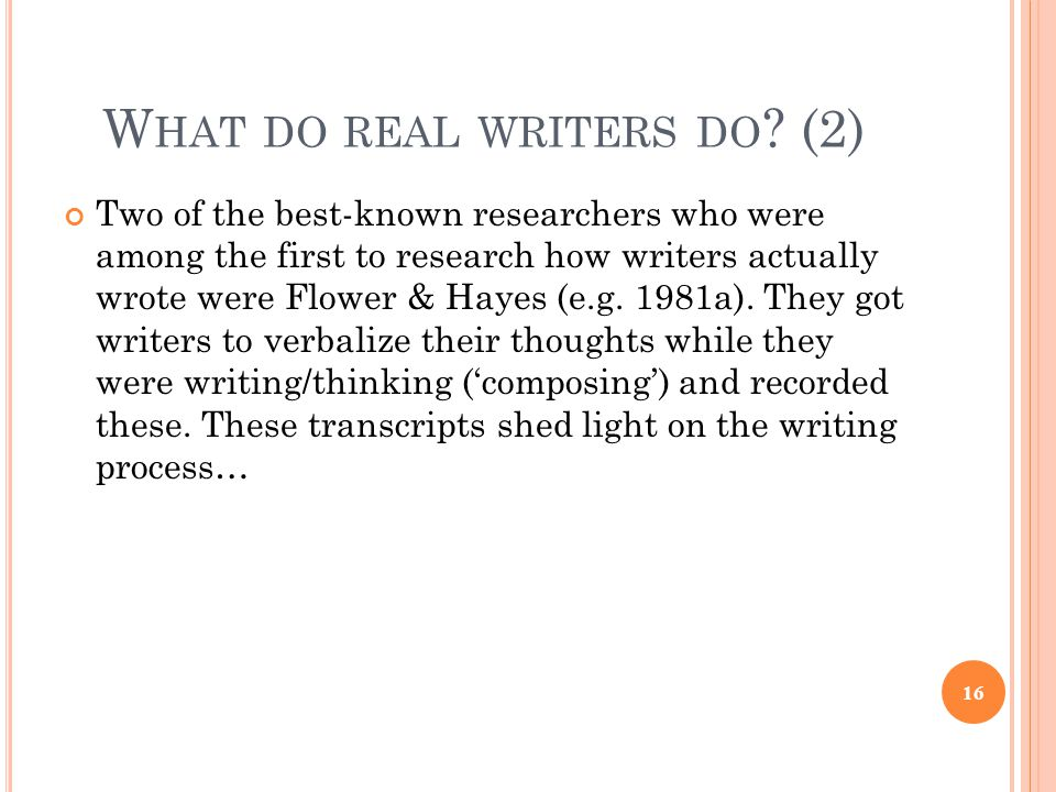 What do real writers do (2)