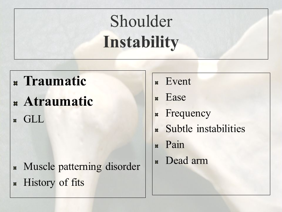 Shoulder Instability Traumatic Atraumatic Event Ease Frequency GLL