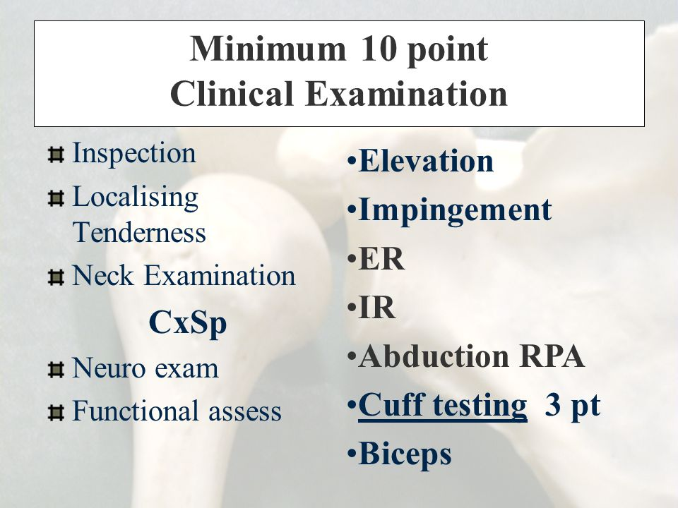 Minimum 10 point Clinical Examination