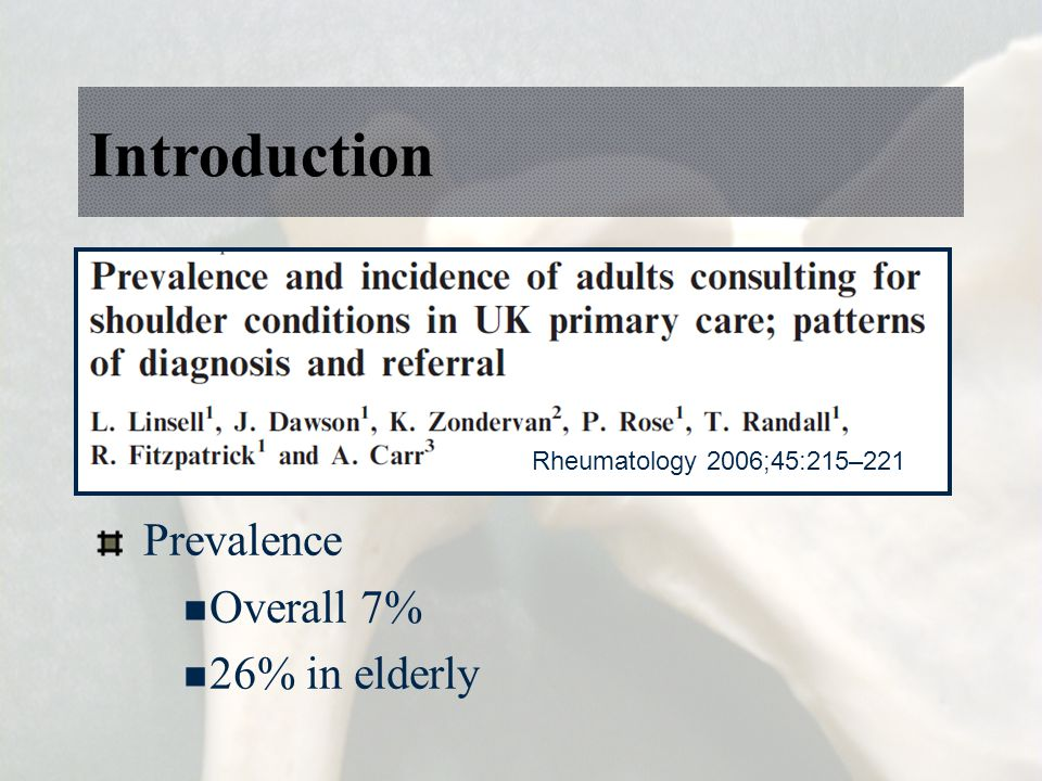 Introduction Prevalence Overall 7% 26% in elderly