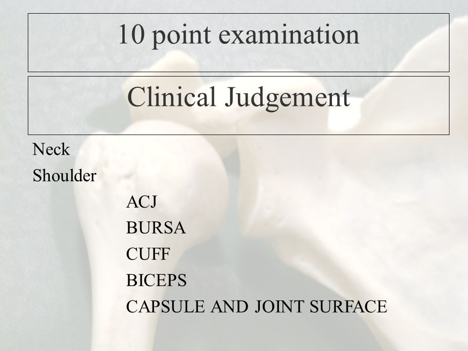 10 point examination Clinical Judgement Neck Shoulder ACJ BURSA CUFF