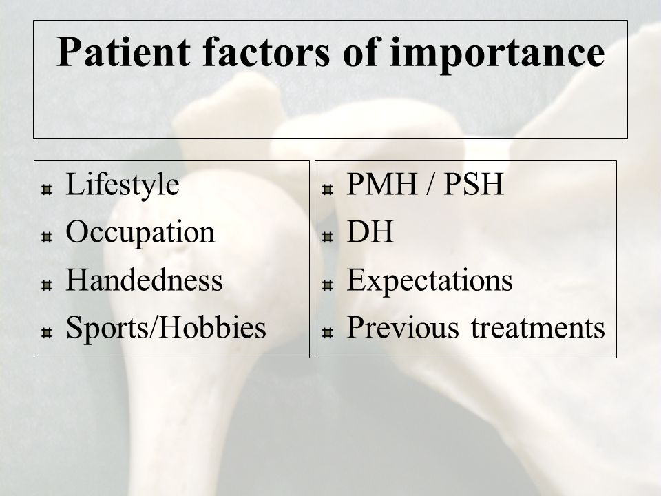 Patient factors of importance
