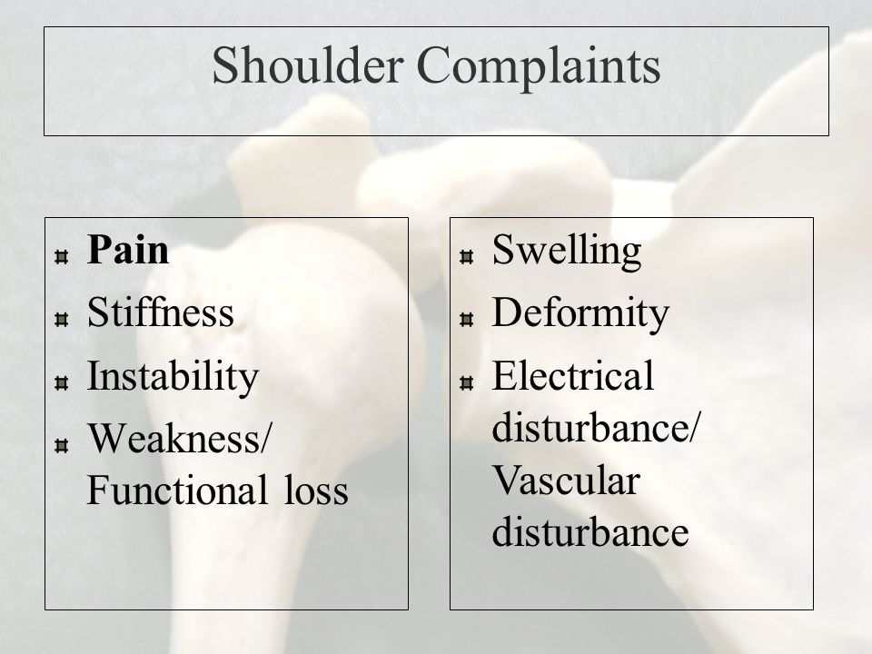Shoulder Complaints Pain Stiffness Instability