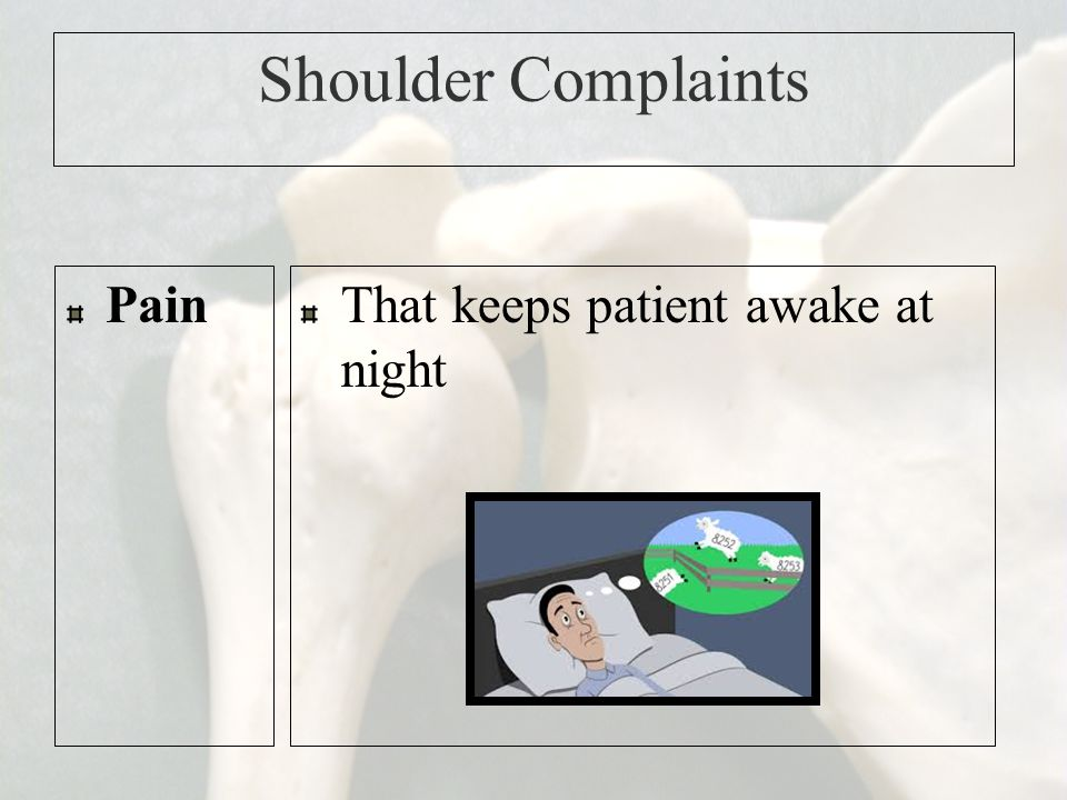 Shoulder Complaints Pain That keeps patient awake at night
