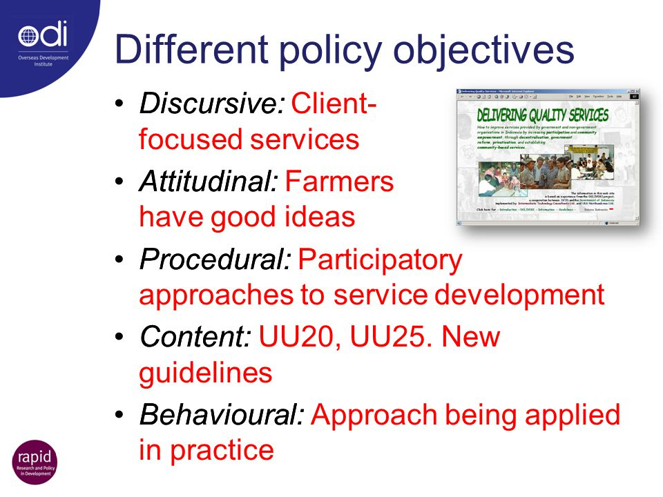 Different policy objectives