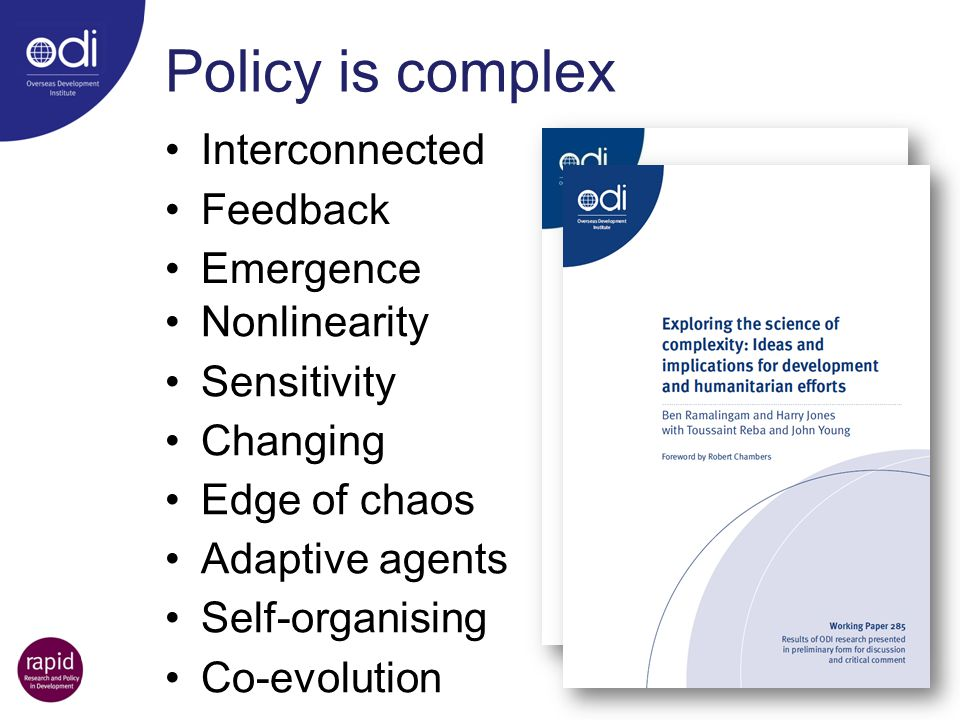 Policy is complex Interconnected Feedback Emergence Nonlinearity