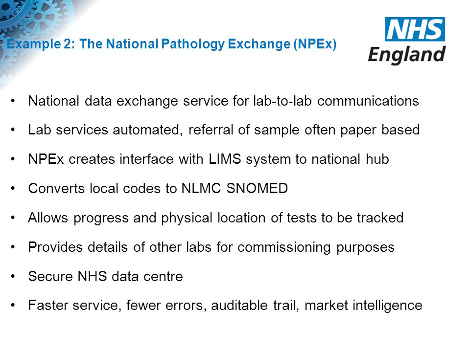 Example 2: The National Pathology Exchange (NPEx)