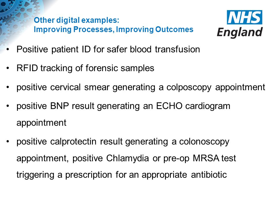 Other digital examples: Improving Processes, Improving Outcomes