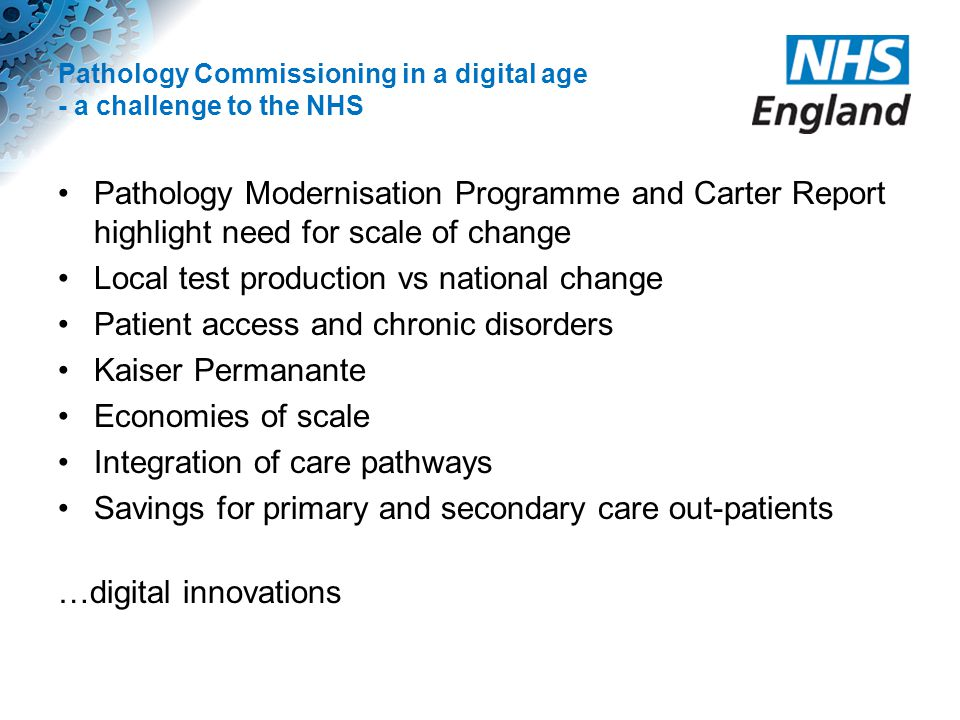 Pathology Commissioning in a digital age - a challenge to the NHS