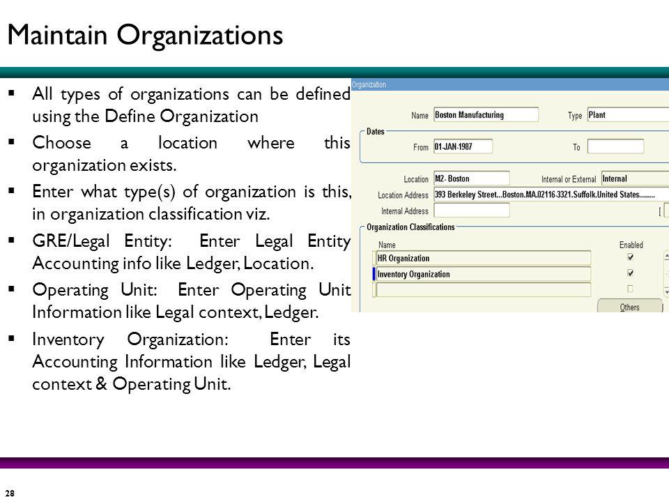 Maintain Organizations
