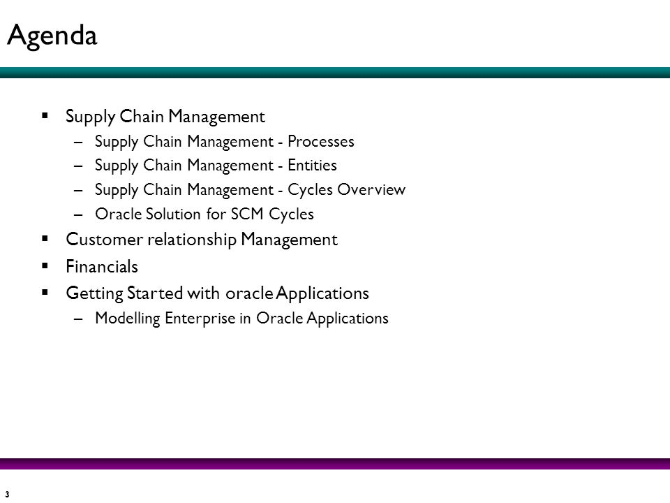 Agenda Supply Chain Management Customer relationship Management