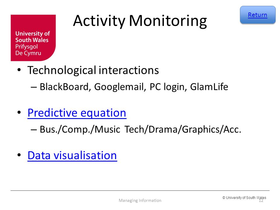 Activity Monitoring Technological interactions Predictive equation