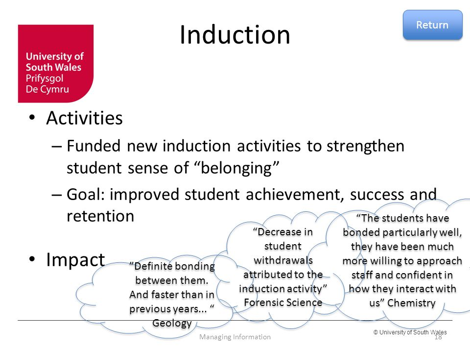 Induction Activities Impact