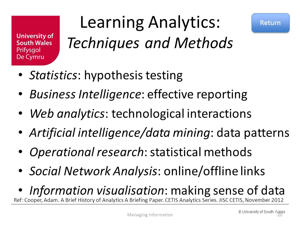 Learning Analytics: Techniques and Methods