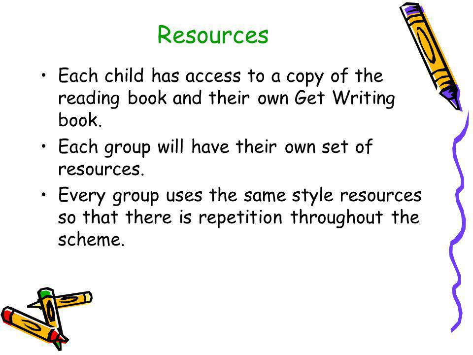Resources Each child has access to a copy of the reading book and their own Get Writing book. Each group will have their own set of resources.