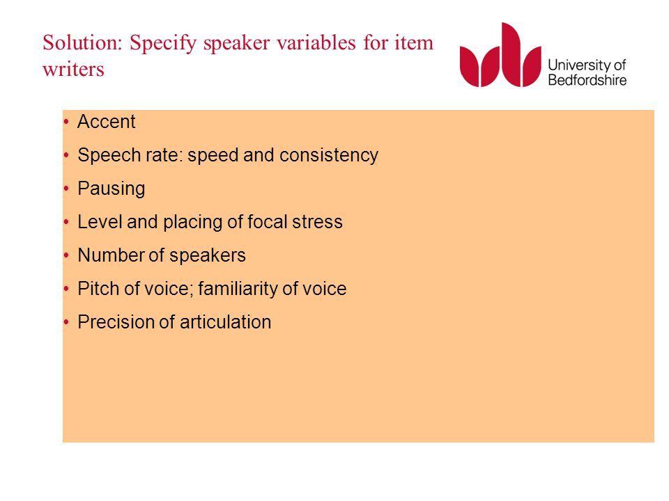 Solution: Specify speaker variables for item writers