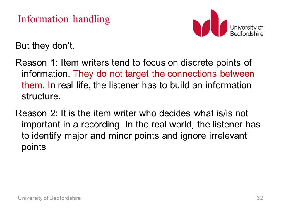 Information handling But they don't.