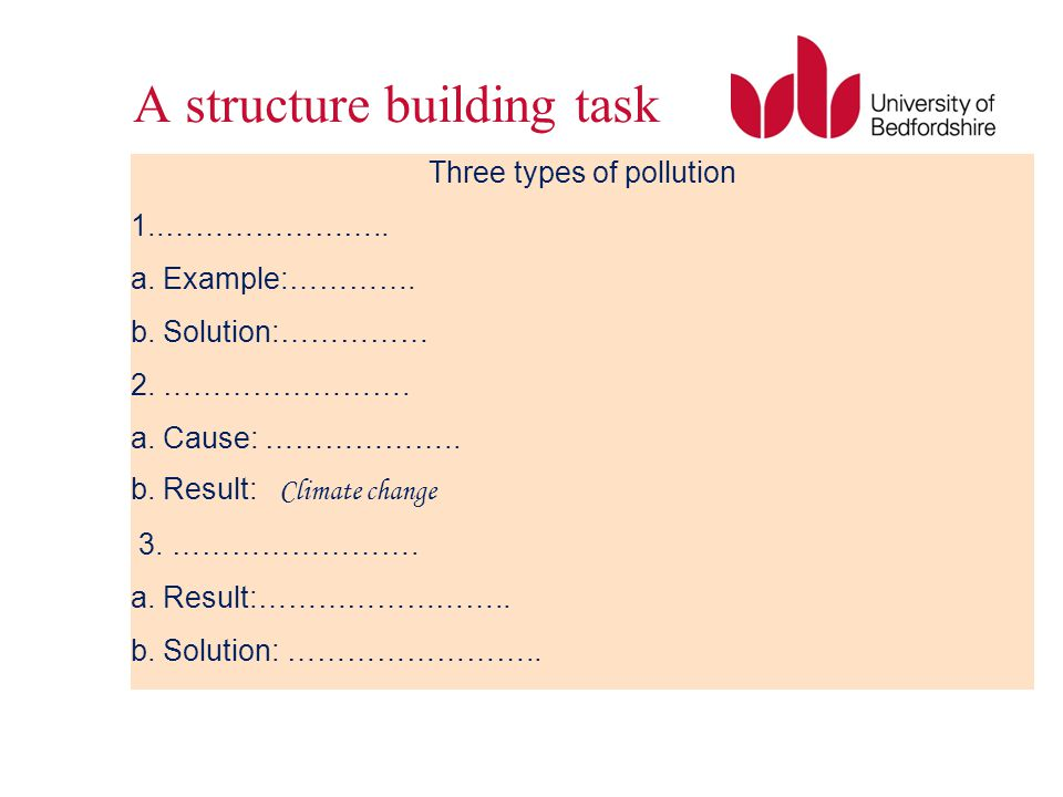 A structure building task