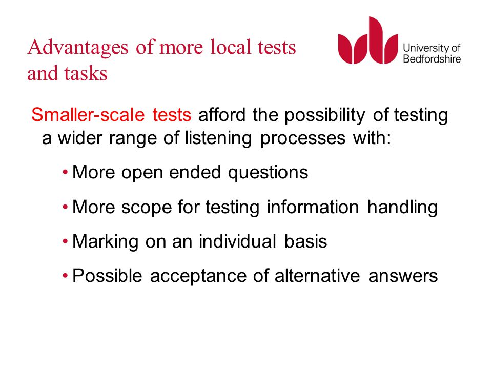 Advantages of more local tests and tasks