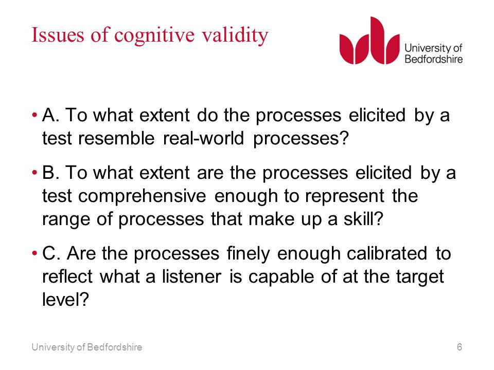 Issues of cognitive validity