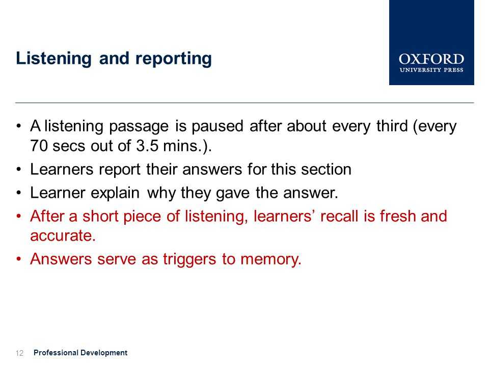 Listening and reporting