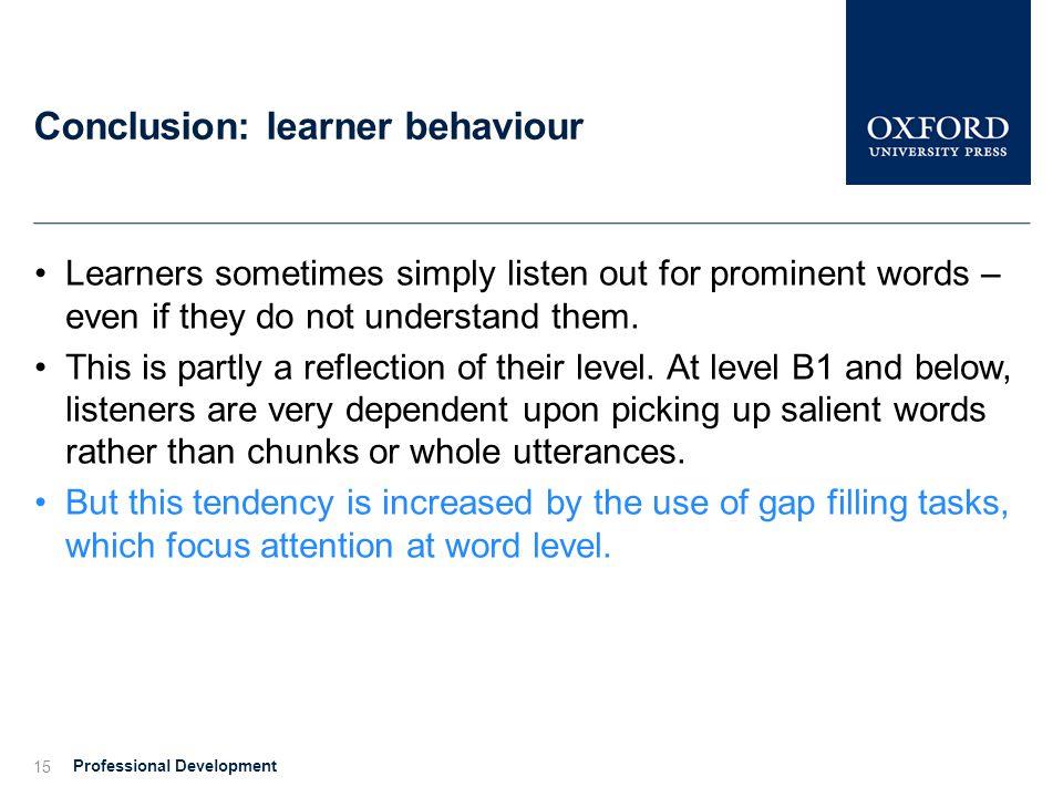 Conclusion: learner behaviour