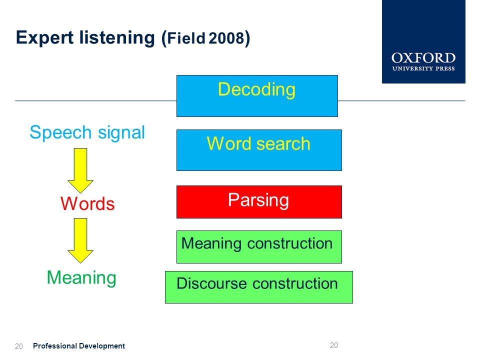 Expert listening (Field 2008)