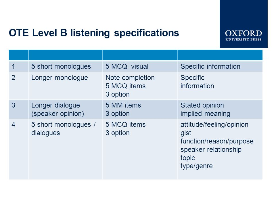OTE Level B listening specifications