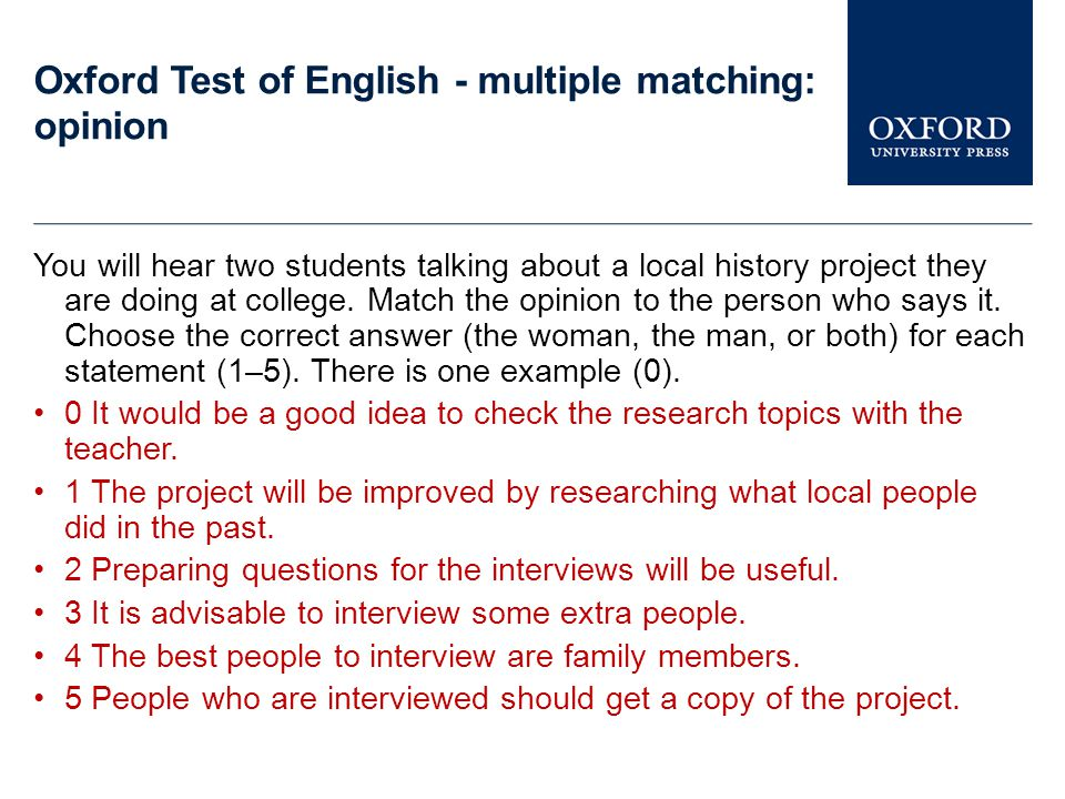 Oxford Test of English - multiple matching: opinion