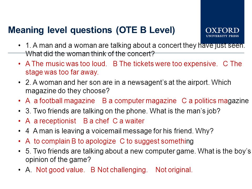 Meaning level questions (OTE B Level)