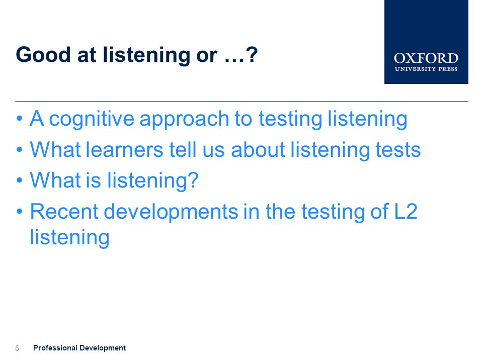 A cognitive approach to testing listening