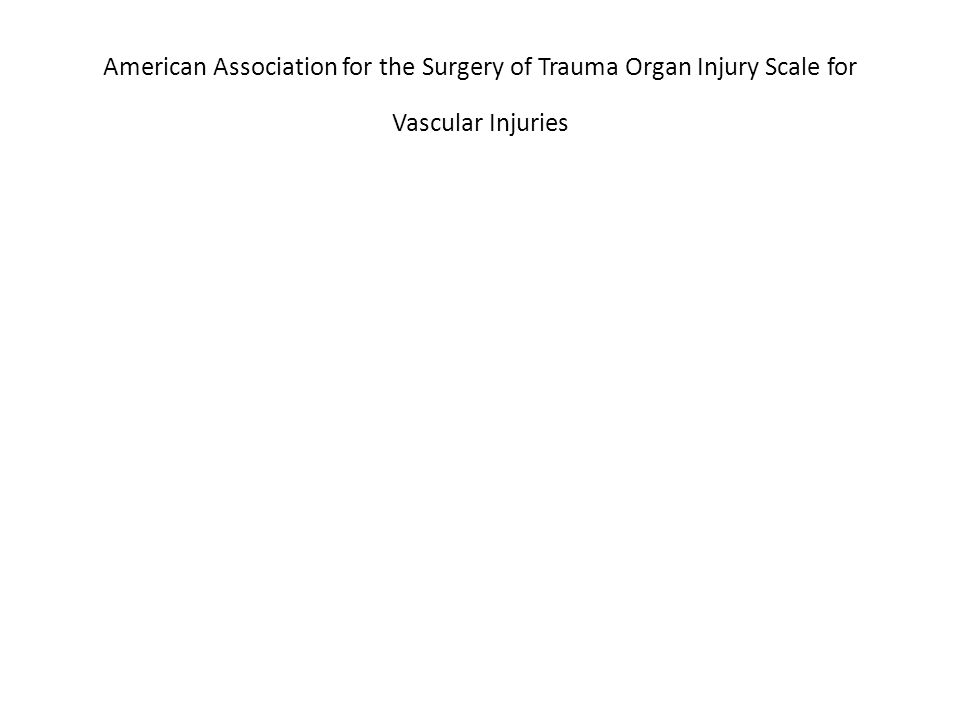American Association for the Surgery of Trauma Organ Injury Scale for Vascular Injuries