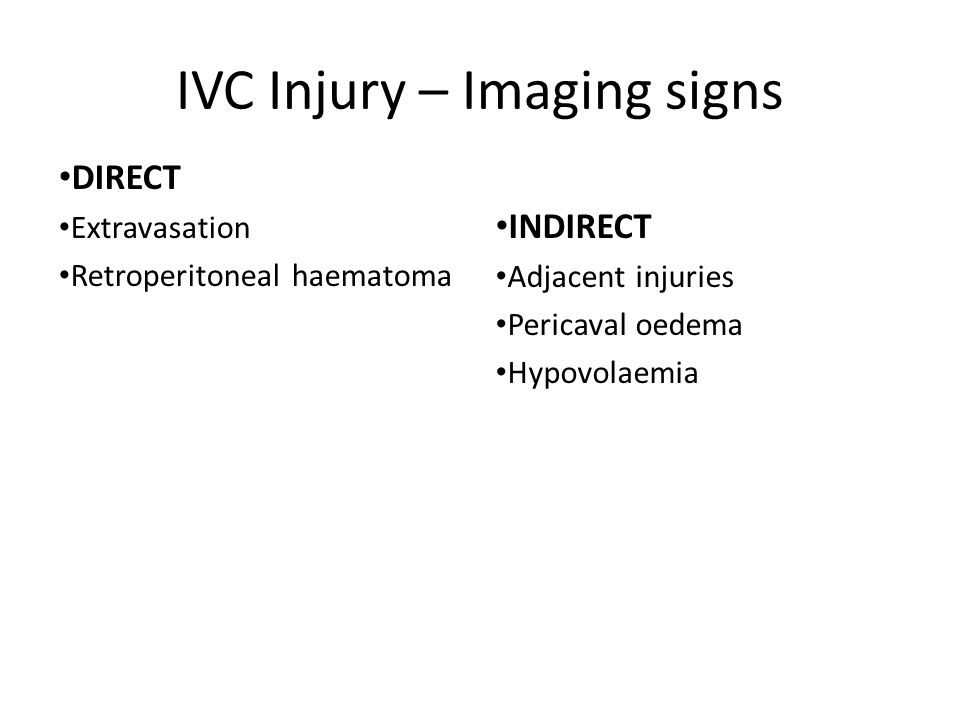 IVC Injury – Imaging signs