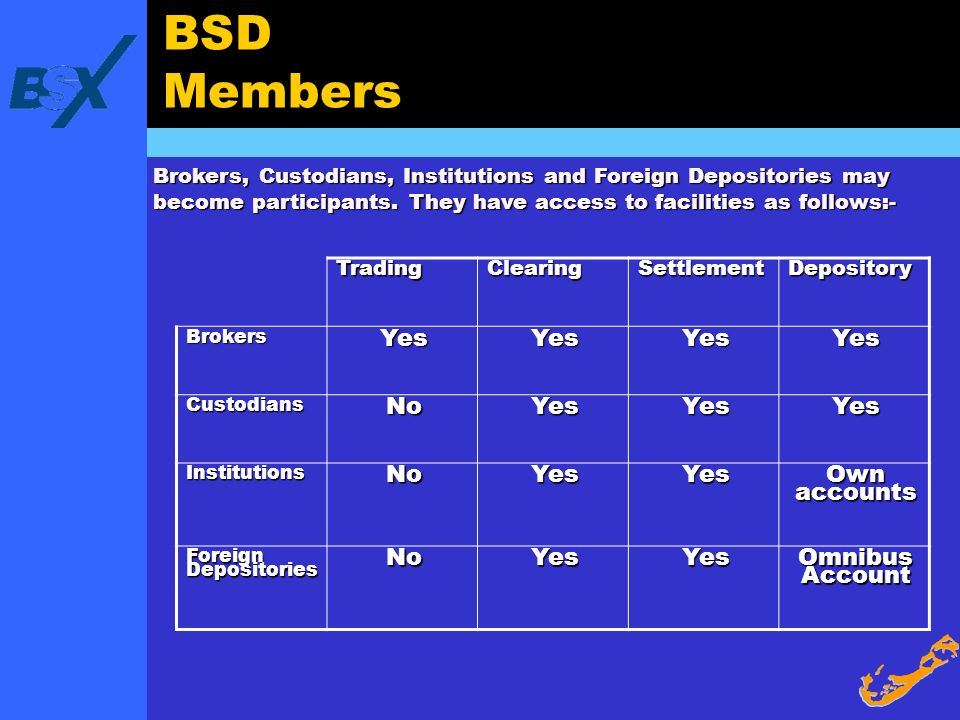 BSD Members Yes No Own accounts Omnibus Account