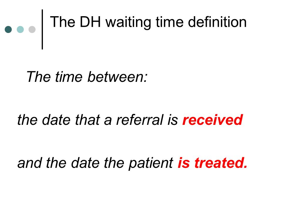 The DH waiting time definition